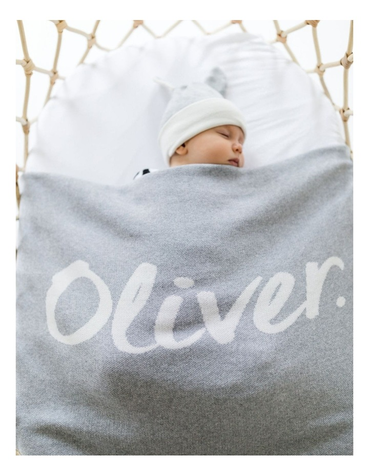 Grey Cot Style Blanket With Rib (Personalise Me!) image 2