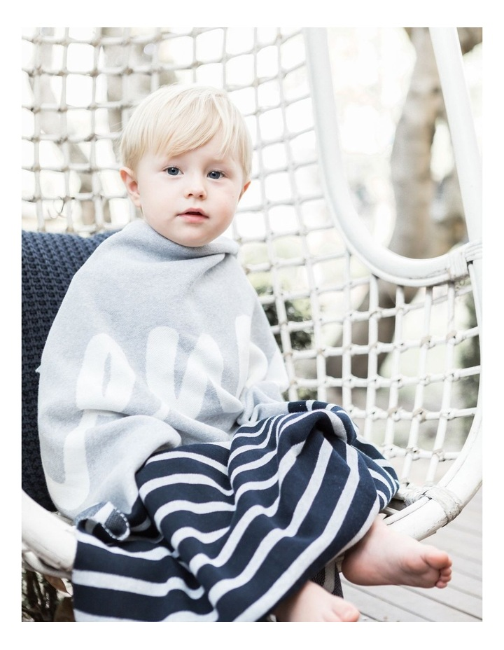 Navy Stripe Cot Style Blanket (Personalise Me!) image 2