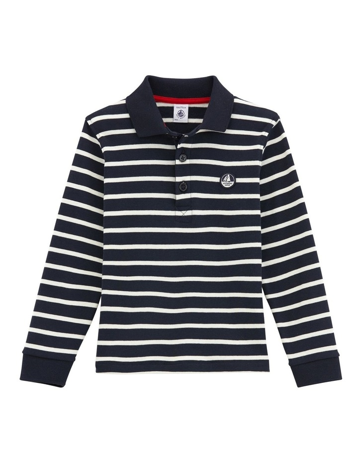 Boys Long Sleeve Striped Polo 45052 image 1