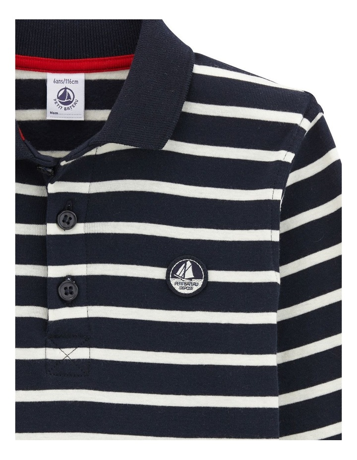 Boys Long Sleeve Striped Polo 45052 image 3
