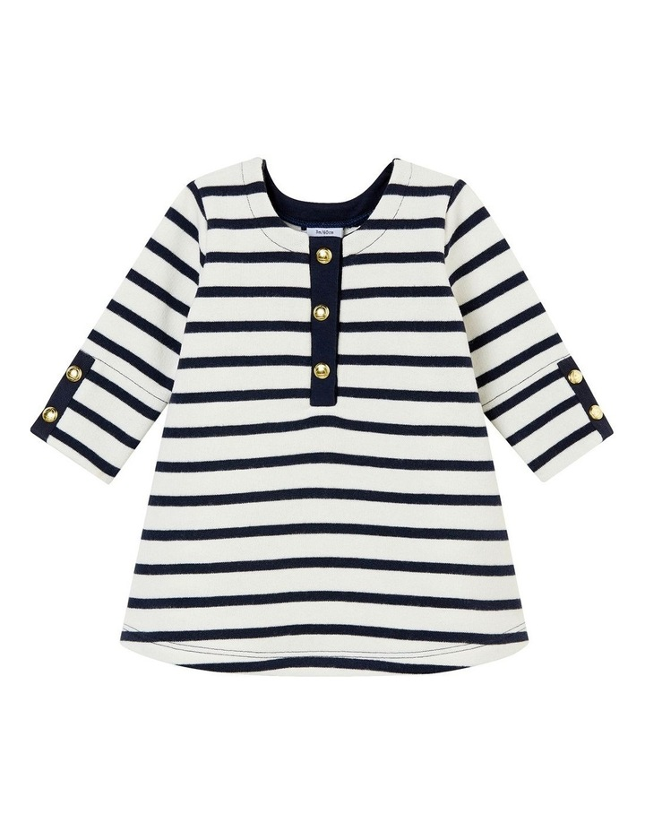 Girls Feature Placket Striped Dress  44314 image 1