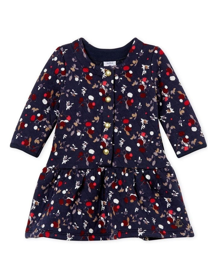 Girls Long Sleeve Quilted Print Dress 44319 image 1