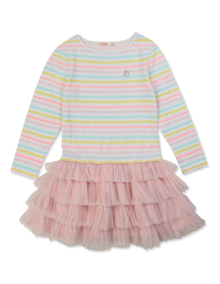 Striped Dual-Material Dress image 1