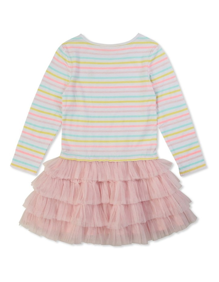 Striped Dual-Material Dress image 2