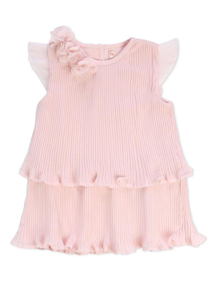 Short-Sleeved Pleated Dress image 1
