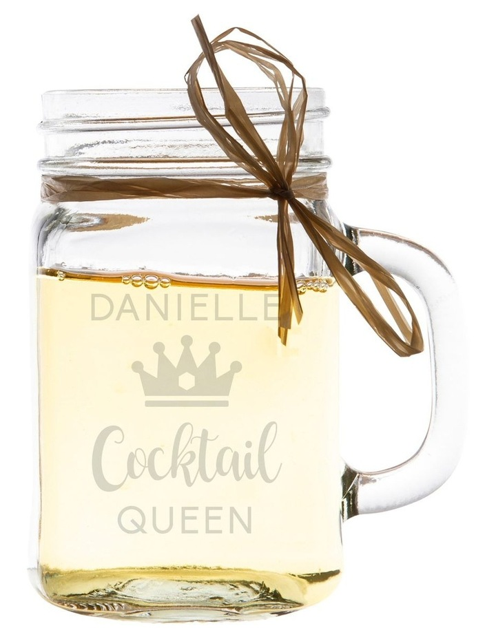 Engraved 400mL Glass Mason Jar - Cocktail Queen image 1