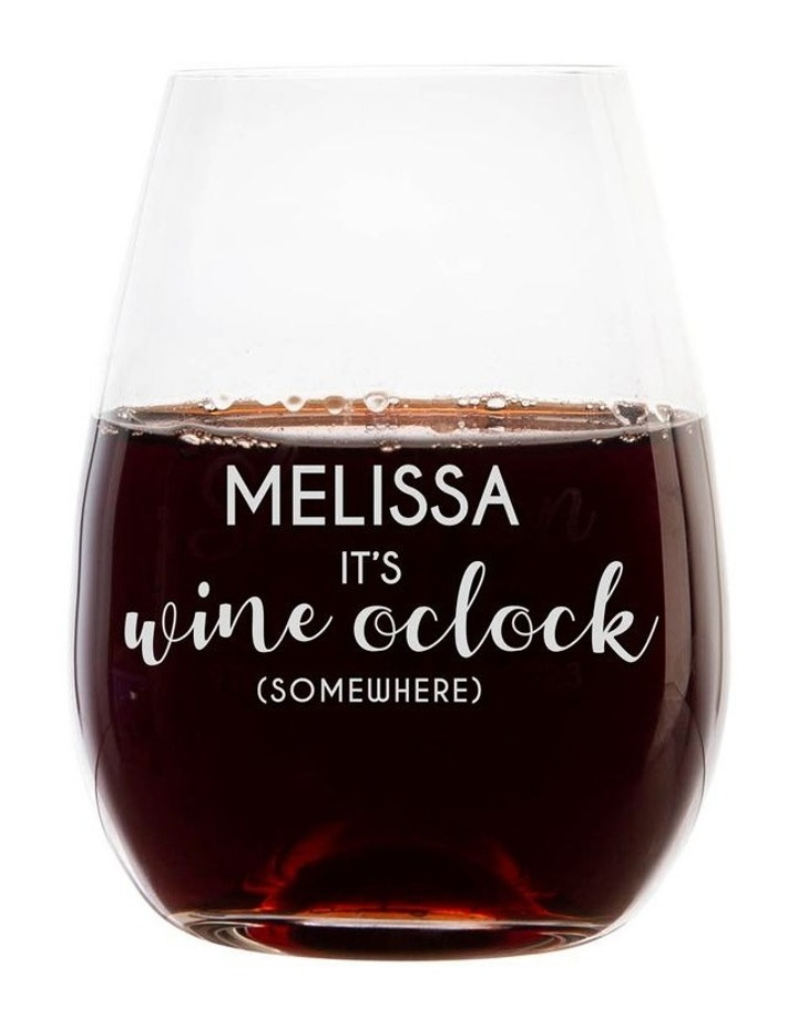 Engraved 460mL Stemless Wine Glass - It's Wine o'clock somewhere image 1