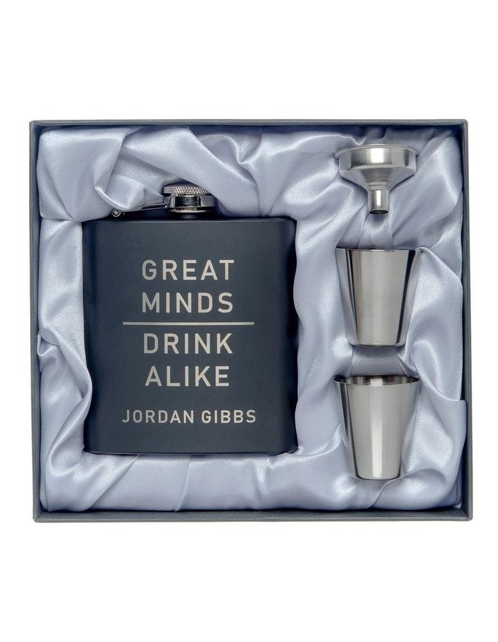 Engraved Black Hip Flask and Shot Glass Set - Great Minds image 1
