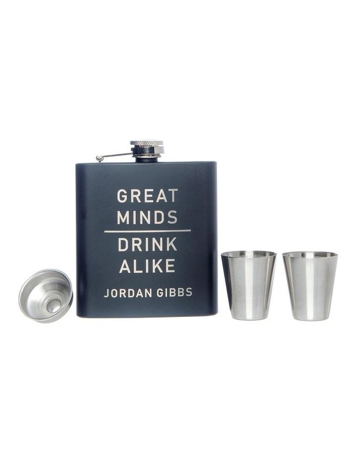 Engraved Black Hip Flask and Shot Glass Set - Great Minds image 2