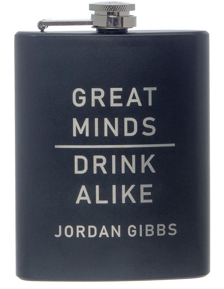 Engraved Black Hip Flask - Great Minds image 1