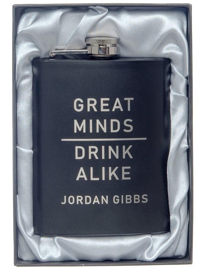 Engraved Black Hip Flask - Great Minds image 2