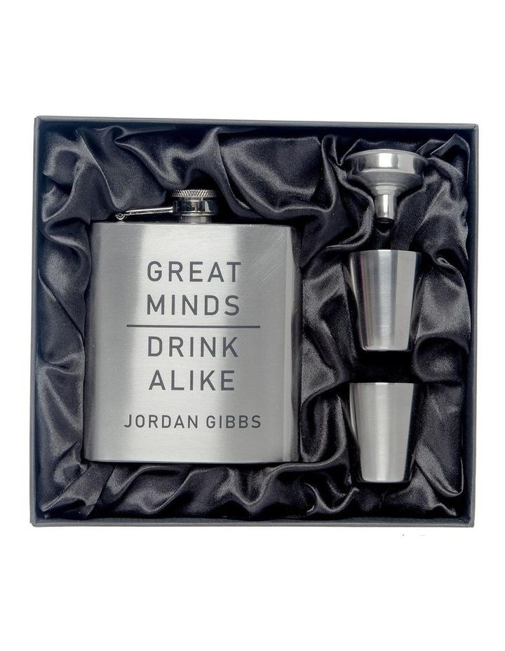 Engraved Silver Hip Flask and Shot Glasses - Great Minds Drink Alike image 1