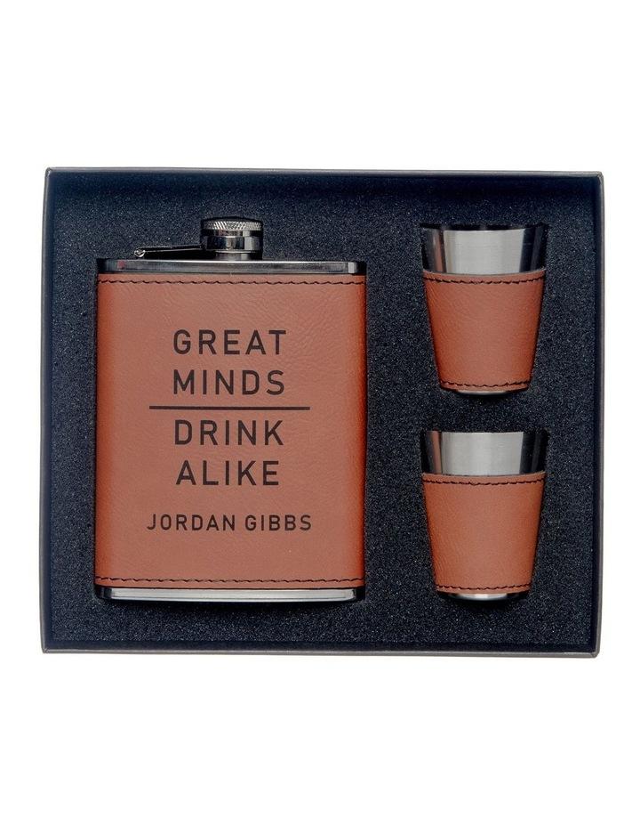 Engraved Tan Hip Flask and Shot Glasses - Great Minds Drink Alike image 1