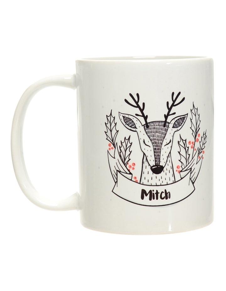 Personalised Holly Reindeer Ceramic Mug image 1