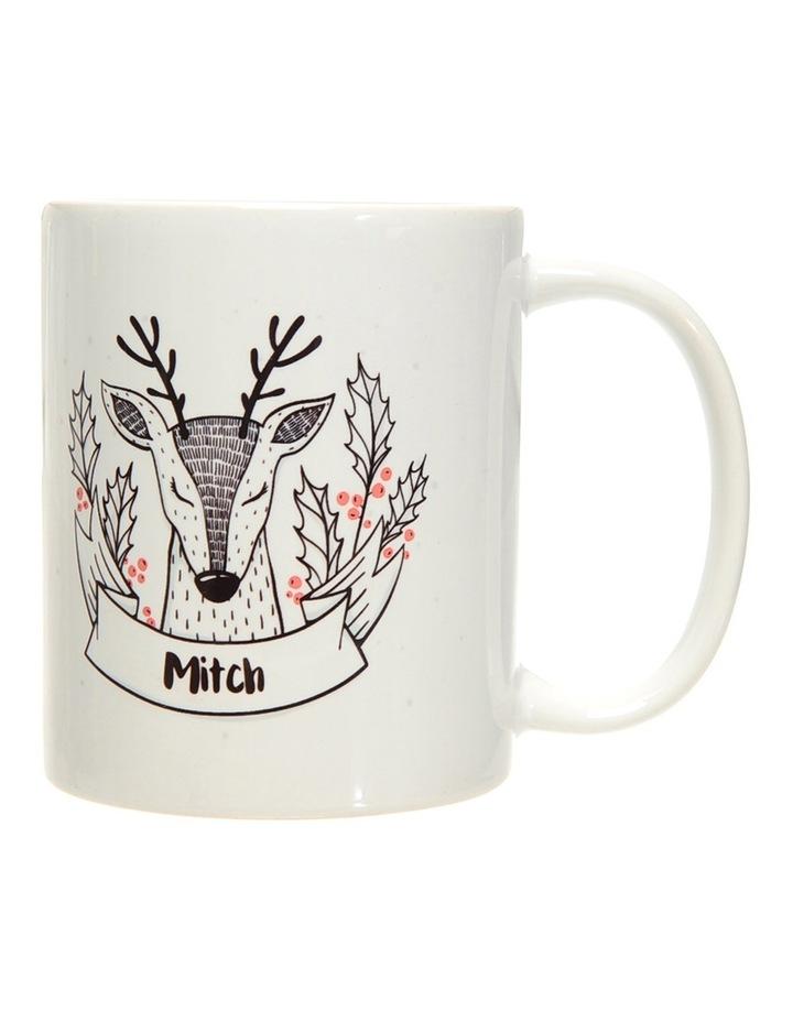 Personalised Holly Reindeer Ceramic Mug image 2