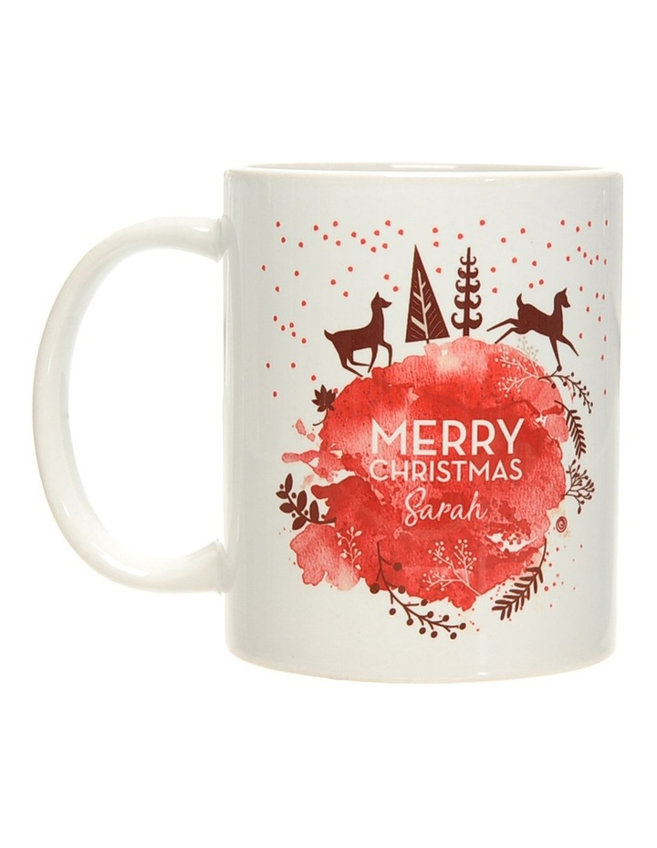 Personalised Gold and Red Christmas Ceramic Mug image 1