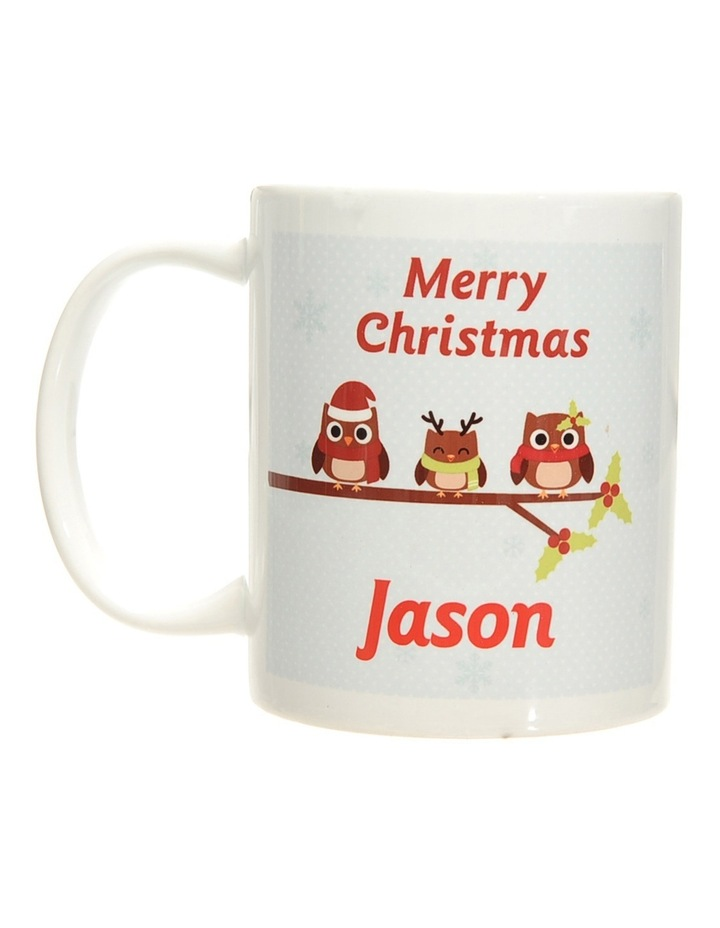 Personalised Holly Owls Christmas Ceramic Mug image 1