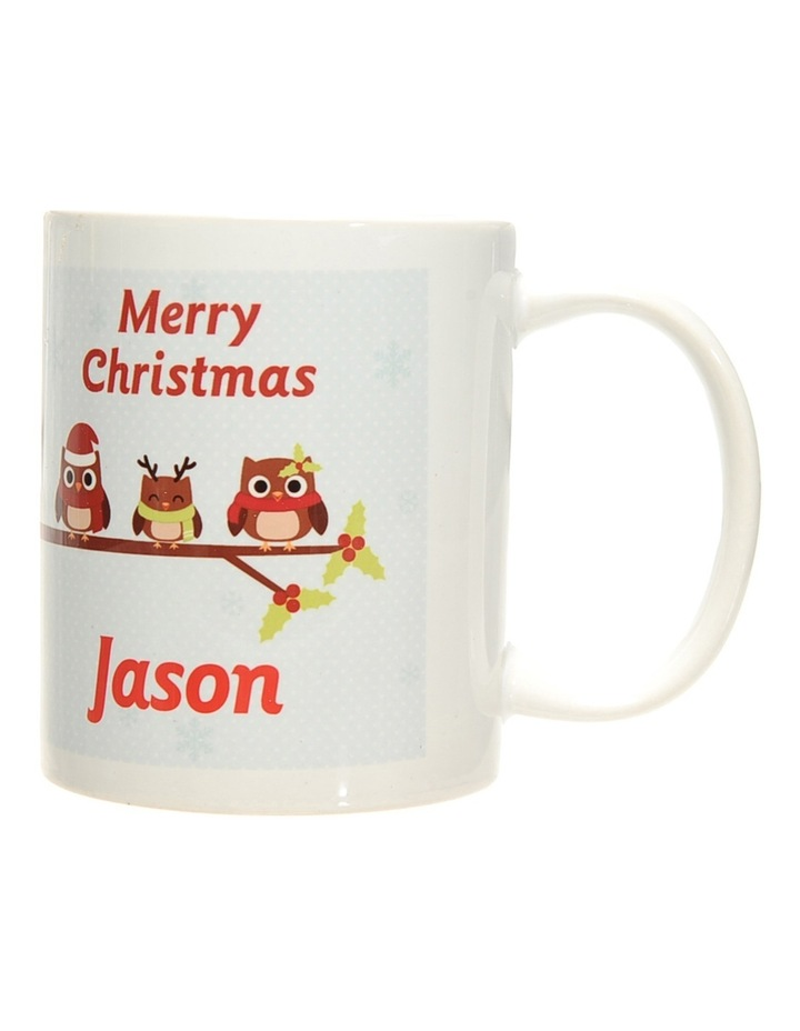 Personalised Holly Owls Christmas Ceramic Mug image 2