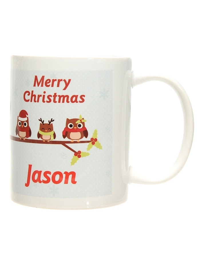 Personalised Holly Owls Christmas Ceramic Mug image 3