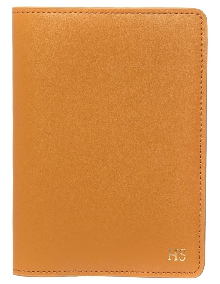 Personalised Recycled Leather Tan Passport Holder image 1