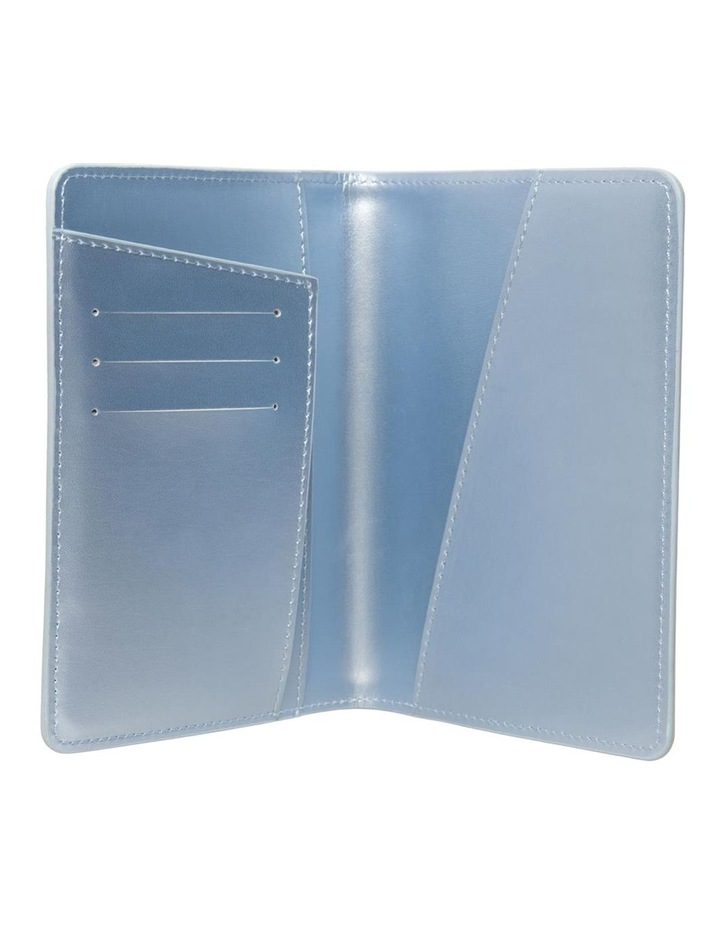 Personalised Recycled Leather Metallic Blue Passport Holde image 2
