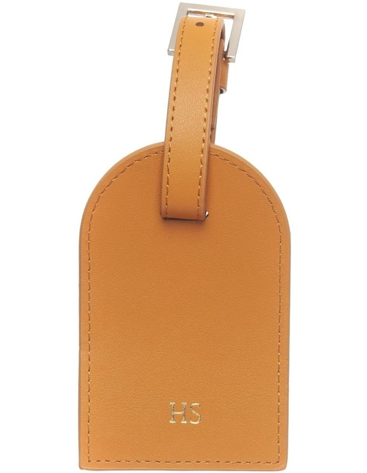 Personalised Recycled Leather Tan Luggage Tag image 1