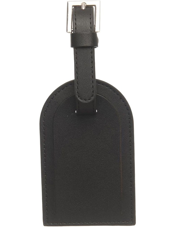Personalised  Recycled Leather Black Luggage Tag image 3