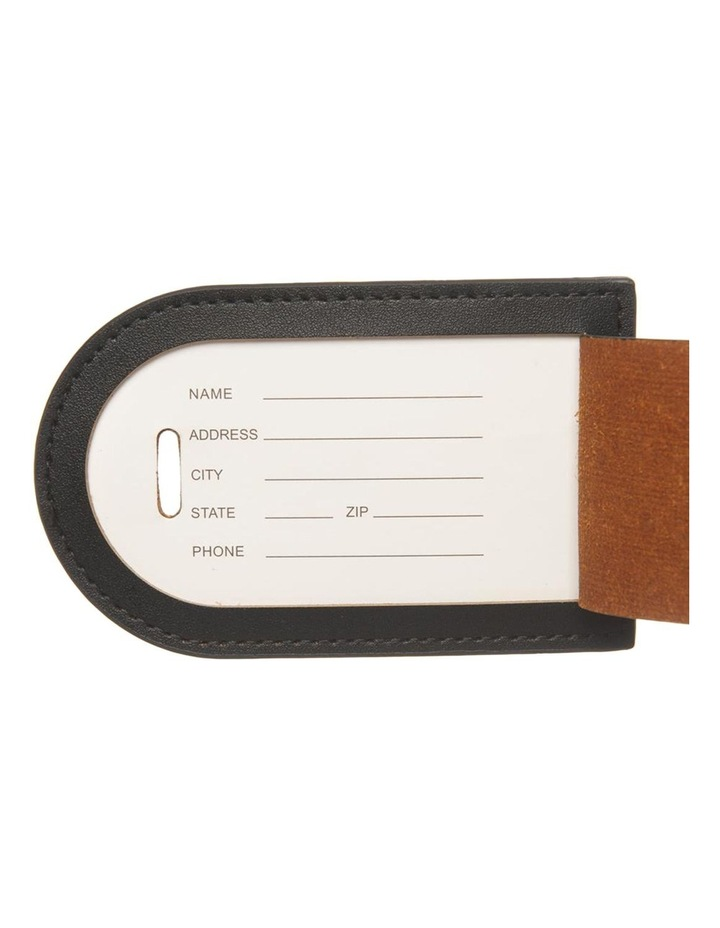 Personalised  Recycled Leather Black Luggage Tag image 4