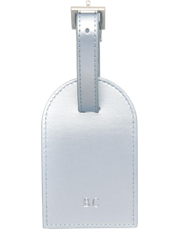 Personalised Recycled Leather Metallic Blue Luggage Tag image 1