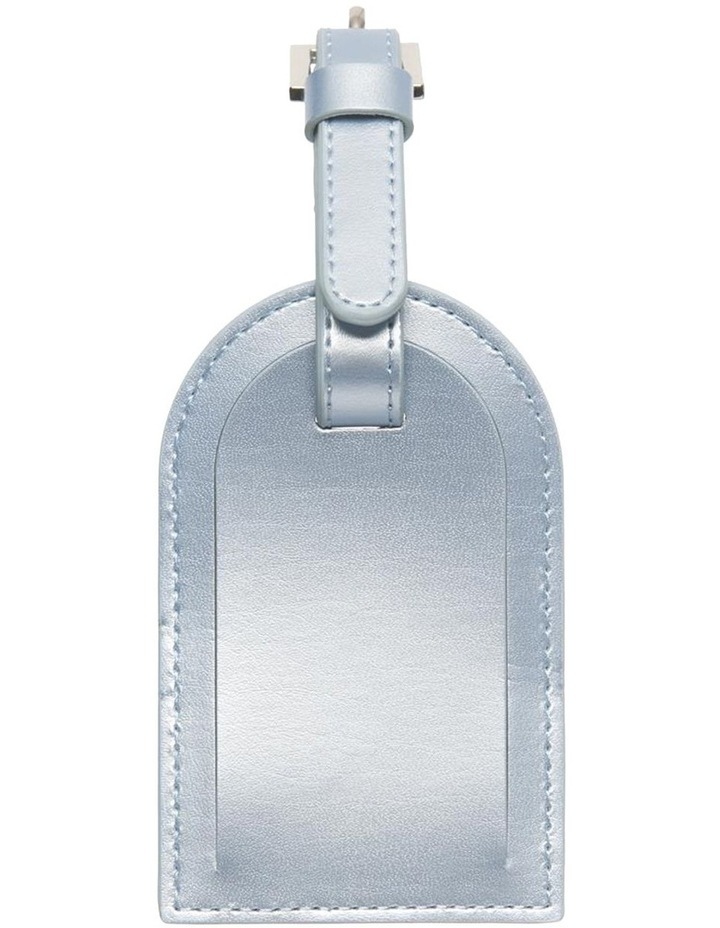 Personalised Recycled Leather Metallic Blue Luggage Tag image 3