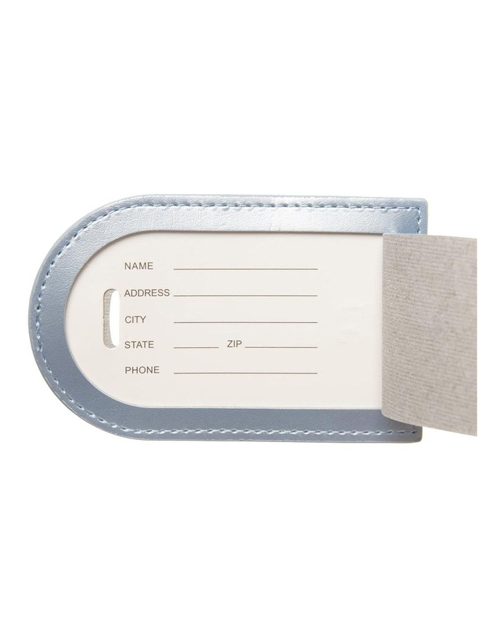 Personalised Recycled Leather Metallic Blue Luggage Tag image 4