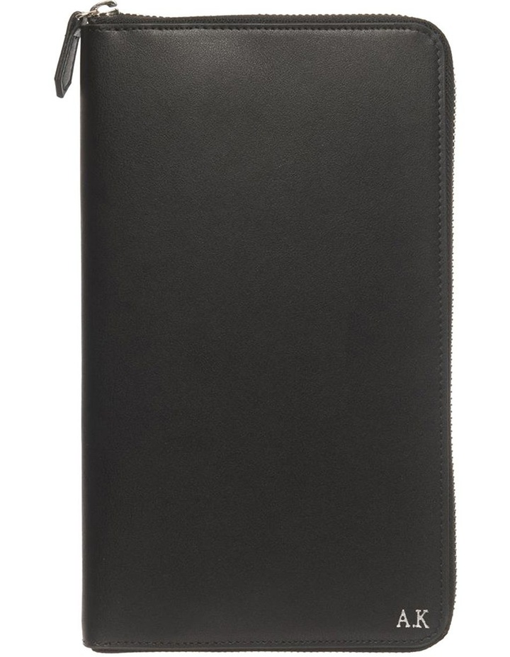Personalised Black Recycled Leather Travel Wallet image 1