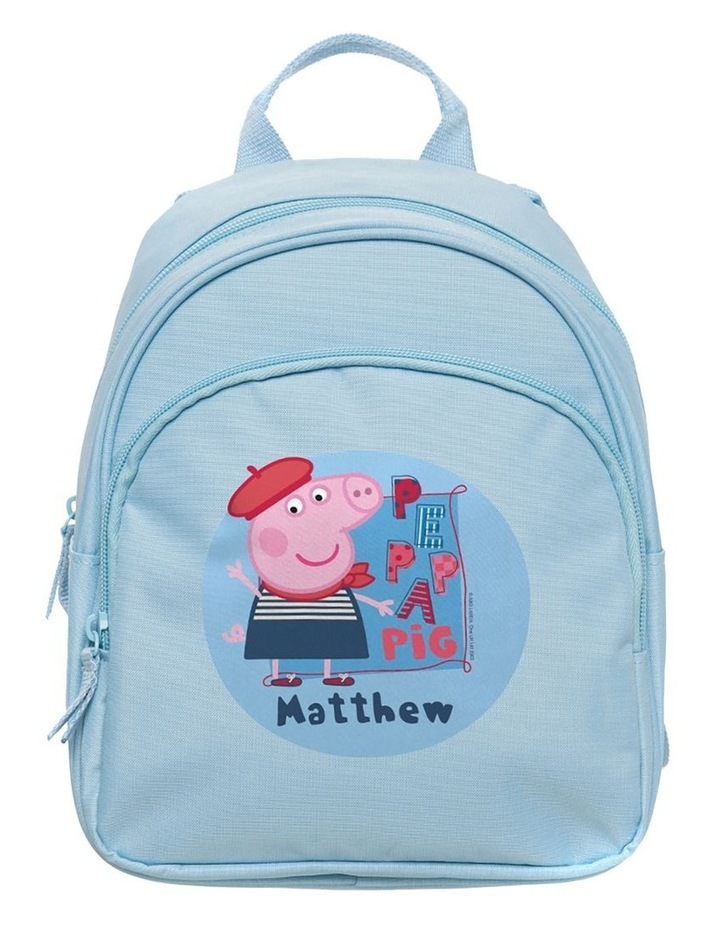 Personalised Peppa Pig George Travel Mini Pale Blue Backpack image 1