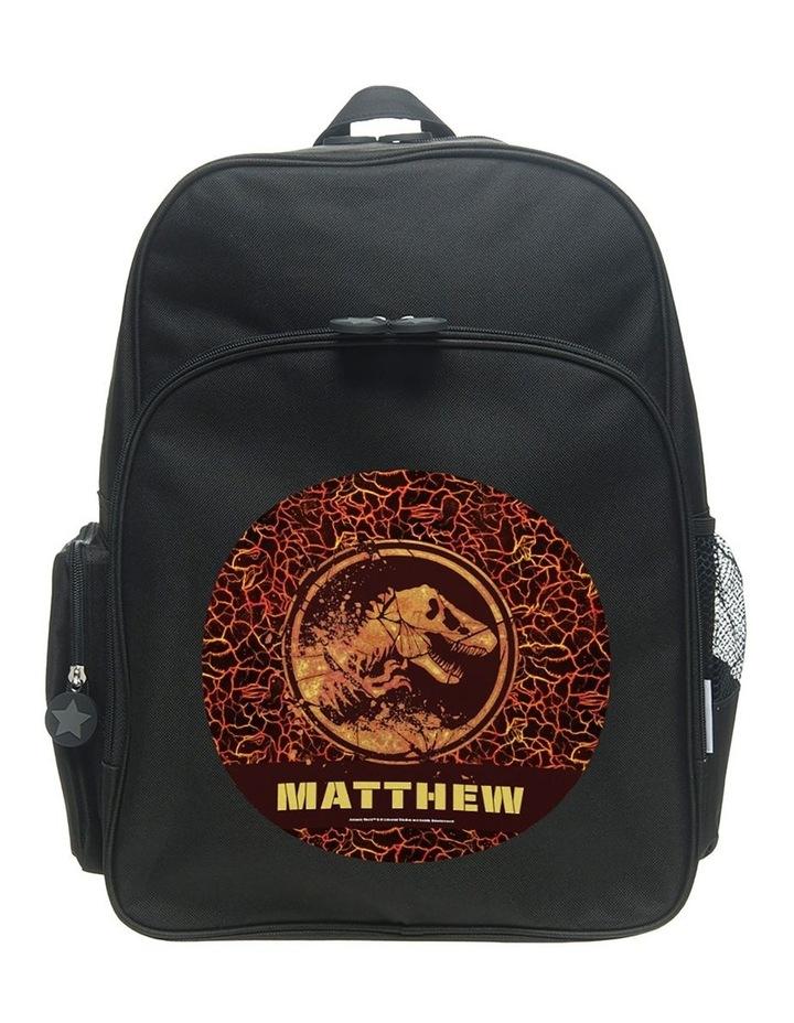 Personalised Jurassic World Battle Fire Logo Large Black Backpack image 1