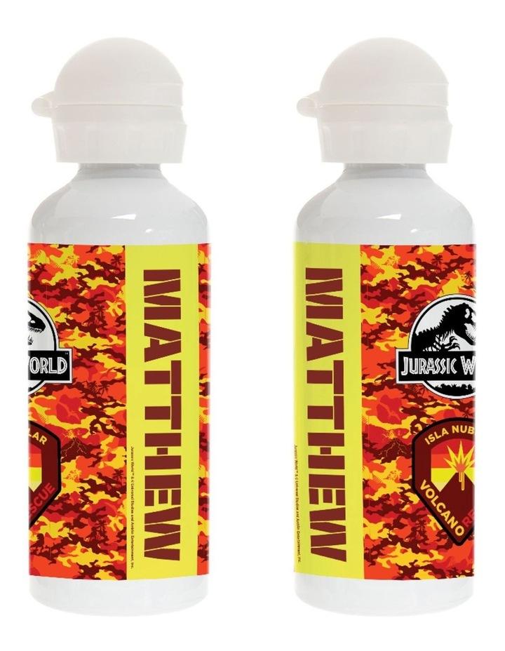 Personalised Jurassic World Battle Fire Logo Drink Bottle image 1