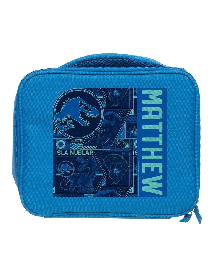 Personalised Jurassic World Tracker Blue Lunch Bag image 1
