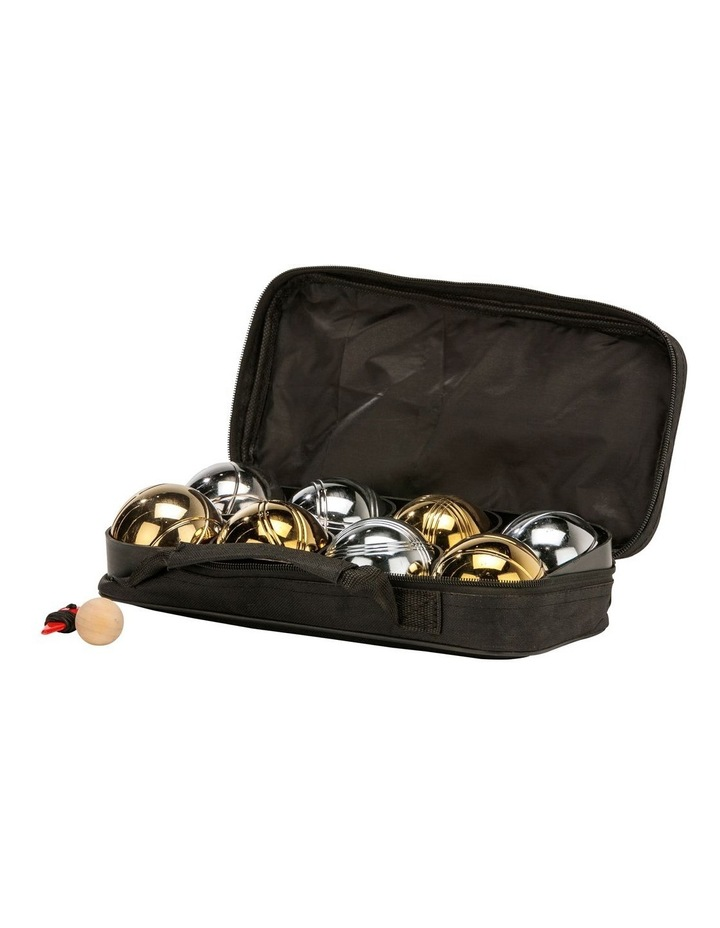 Deluxe 8 Metal Bowls Bocce/Petanque Game Set Gold & Silver image 2