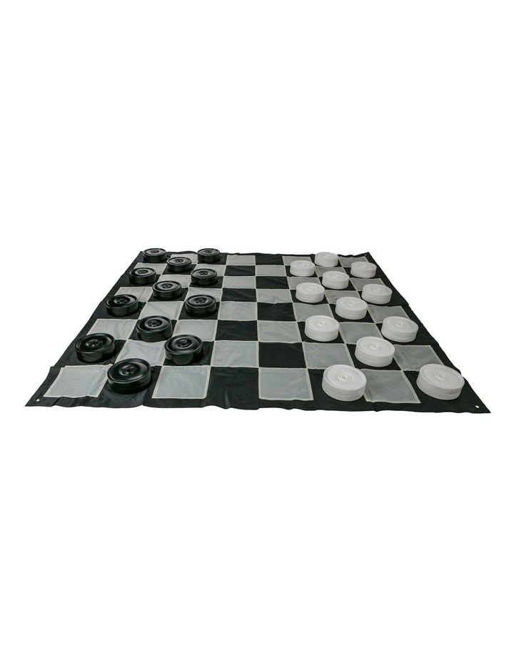 Giant Size Outdoor Draughts Checkers Game Set w/Mat 3x3m image 1