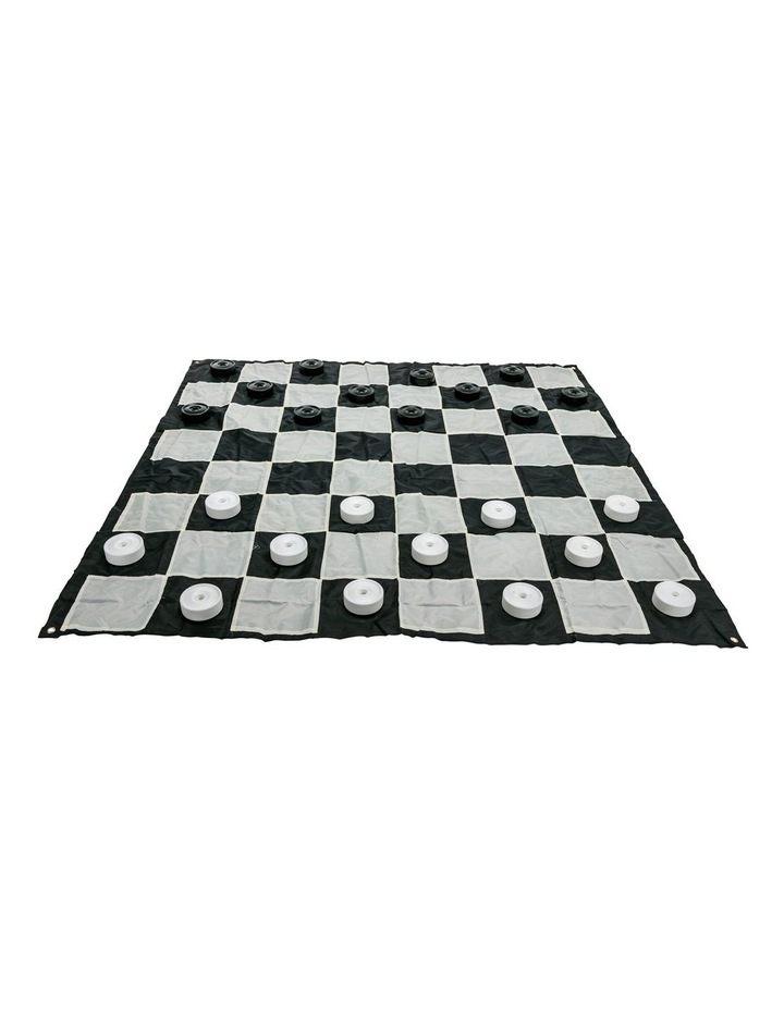 Giant Size Plastic Outdoor Checkers Game Set w/Mat 1.5x1.5m image 1