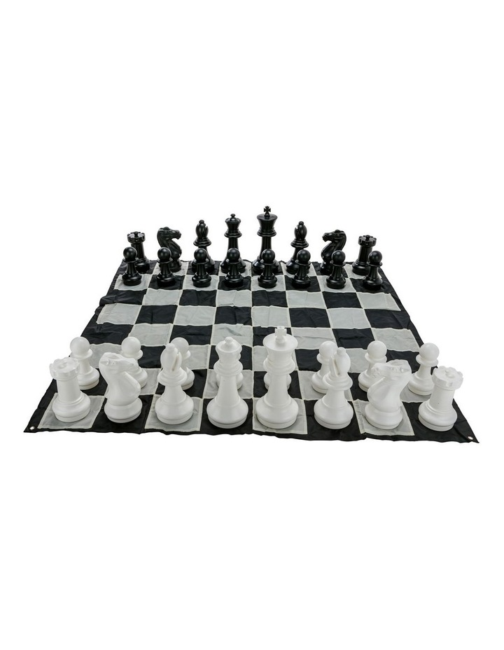 Giant Size Plastic Outdoor Chess Game Set w/Mat 1.5x1.5m image 1