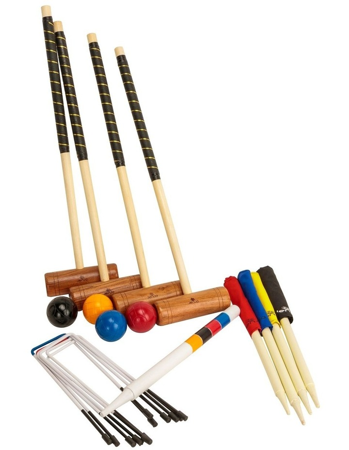 Championship Hardwood Croquet Mallet Set Game 4 Player Set w/Carry Bag image 1