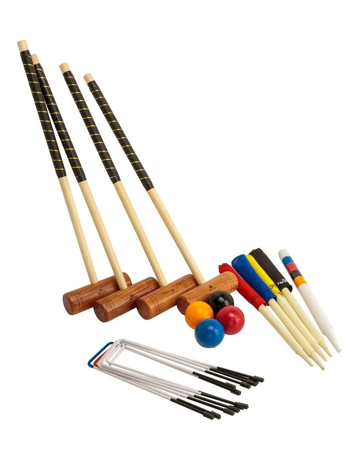Championship Hardwood Croquet Mallet Set Game 4 Player Set w/Carry Bag image 2