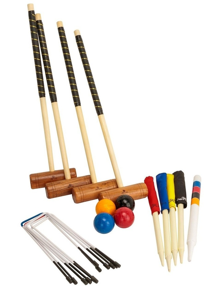 Championship Hardwood Croquet Mallet Set Game 4 Player Set w/Carry Bag image 3