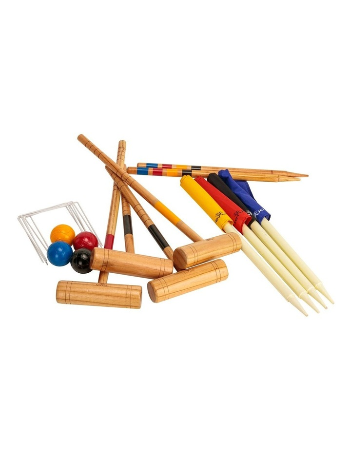 Outdoor Family Premium Wooden Croquet Ball Mallet Game 4 Player Set w/Carry Bag image 1