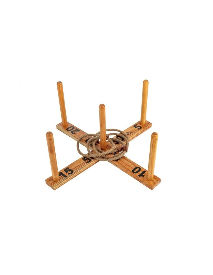 Outdoor Wooden Set Rope Ring Toss Quoits Game image 1
