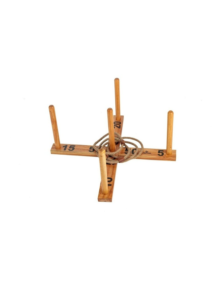 Outdoor Wooden Set Rope Ring Toss Quoits Game image 2