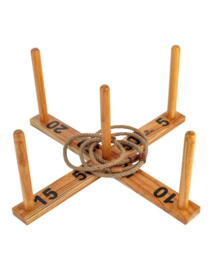 Giant Wooden Rope Ring Toss Quoits Outdoor Game Set image 1