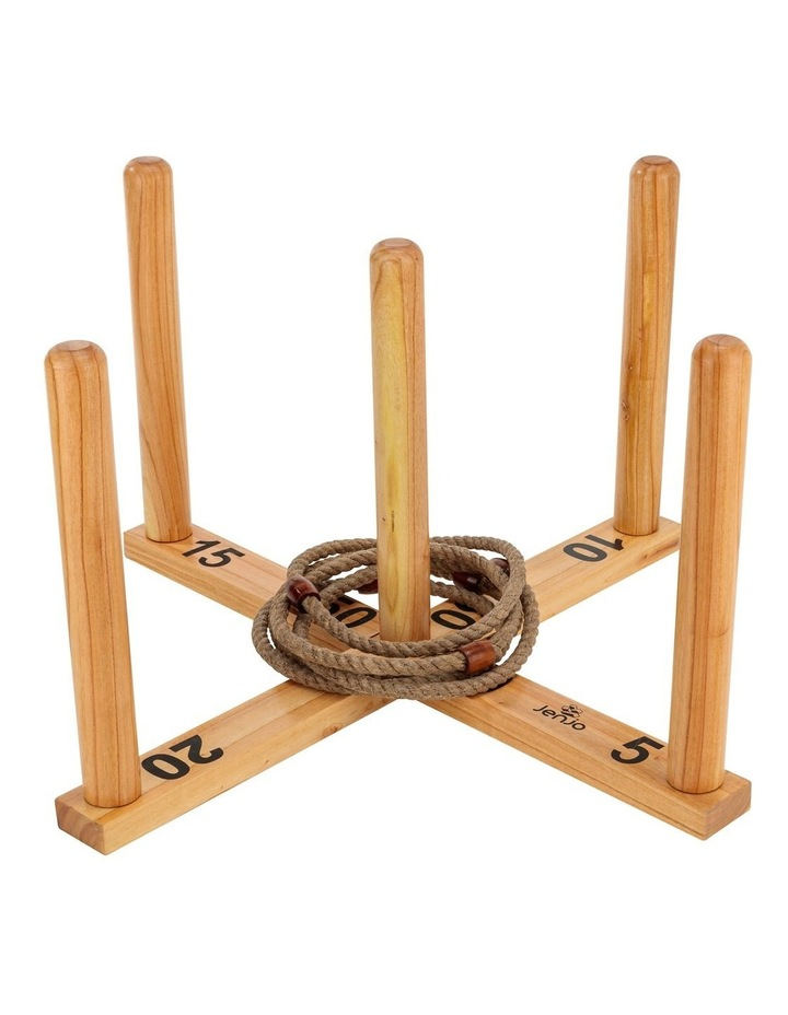 Mega Quoits Wooden Rope Ring Toss Outdoor Game Set 100cm Wide Including 5 Rings image 1