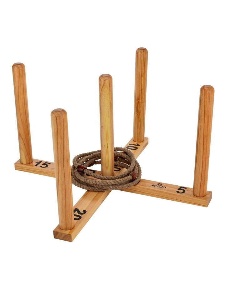 Mega Quoits Wooden Rope Ring Toss Outdoor Game Set 100cm Wide Including 5 Rings image 2
