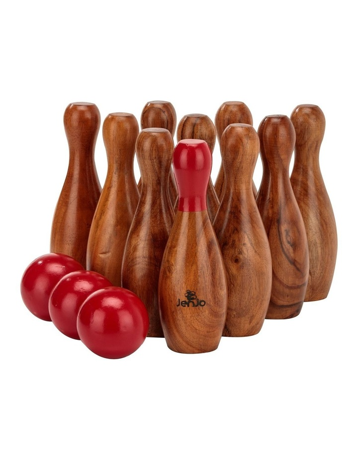 Outdoor Wooden Skittles Bowling Lawn Game Set image 1